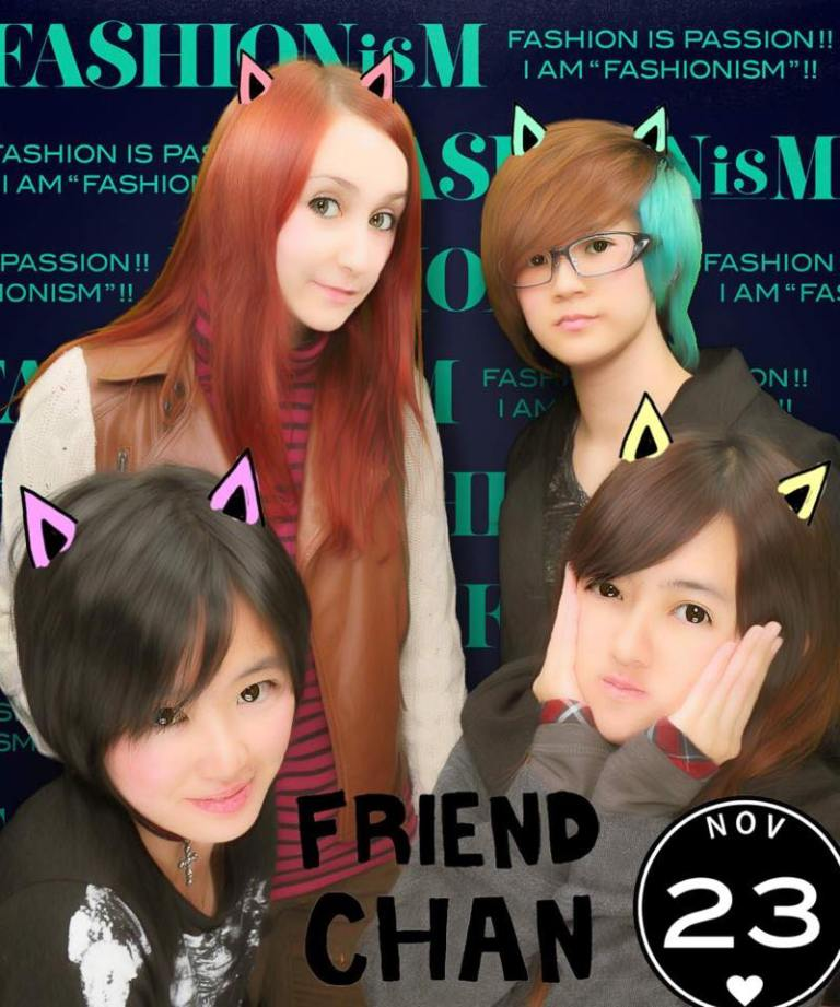 This is a picture taken at a purikura machine at Shibuya.
