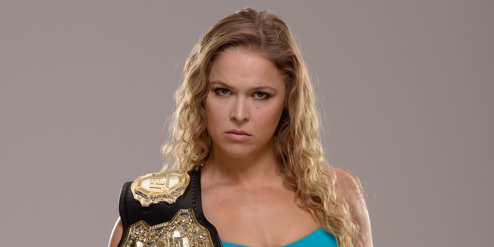 LAS VEGAS, NV - DECEMBER 26:  UFC Women's Bantamweight Champion Ronda Rousey poses for a portrait during a UFC photo session on December 26, 2013 in Las Vegas, Nevada. (Photo by Jeff Bottari/Zuffa LLC/Zuffa LLC via Getty Images)