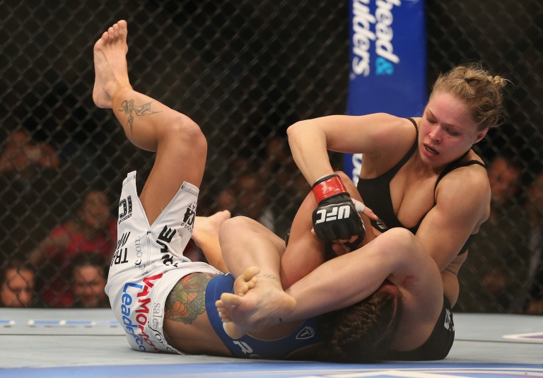 ANAHEIM, CA - FEBRUARY 23:  Ronda Rousey fights Liz Carmouche during their UFC Bantamweight Title bout at Honda Center on February 23, 2013 in Anaheim, California.  (Photo by Jeff Gross/Getty Images)
